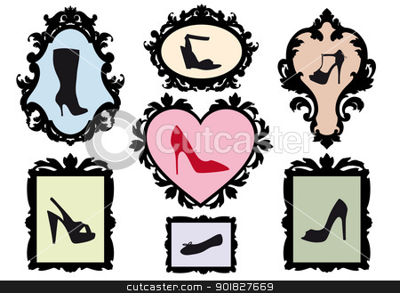 shoe silhouettes in antique frames, vector set stock vector clipart, shoe silhouettes in antique picture frames, vector set by Beata Kraus