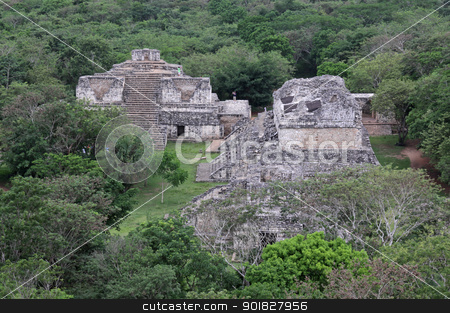 Ek Balam Structures stock photo, The Oval Palace and The Twins shot from the top of the Acropolis in the Mayan ruins of Ek' Balam.  The name Ek' Balam means 'Black Jaguar'. It is located in the Yucatan Peninsula, Mexico.  by Chris Hill