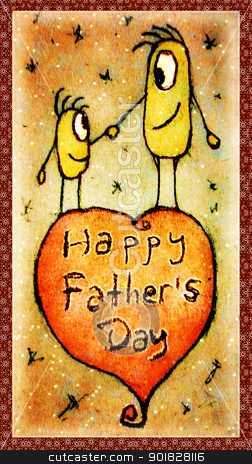 Father´s day Illustration stock photo, Illustration showing characters drawings in a lovely scene commemorating the love between a father and his son. by Daniel