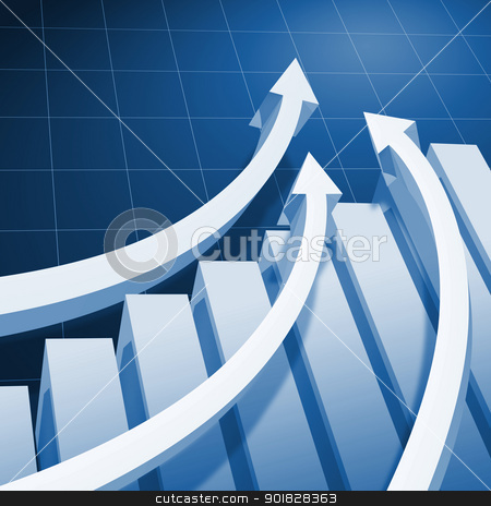 Charts and upward directed arrows stock photo, Charts and upward directed arrows against blue  background by Sergey Nivens