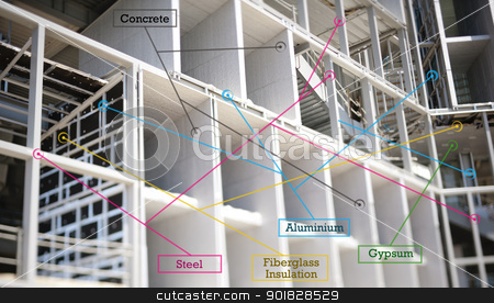 Infographics of building materils stock photo, Diagram concept of building materials used to build a modern office. Soft focus provided by the tilt-shift lens in order to emphasize the effect of the infographics. Useful file for your brochure, flyer and other media needs.