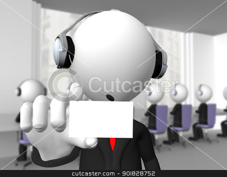Call center operator with headphones and microphone showing a bl stock photo, Call center operator with headphones and microphone showing a blank card  by dacasdo