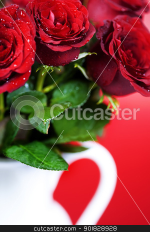 red roses stock photo, bouquet of red roses in vase by klenova