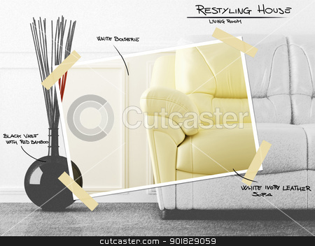 Living room restyling project stock photo, Comfortable leather couch in luminouse white room for house restyling project by Giordano Aita
