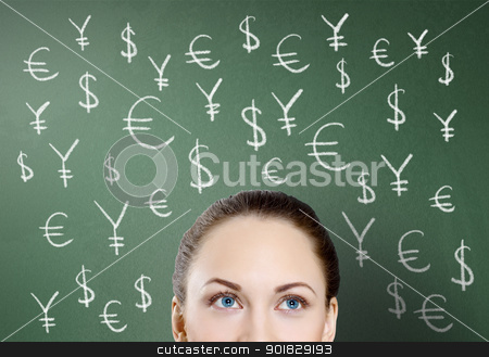 Money and finance symbols stock photo, Young woman and signs of currency on the backgrond by Sergey Nivens