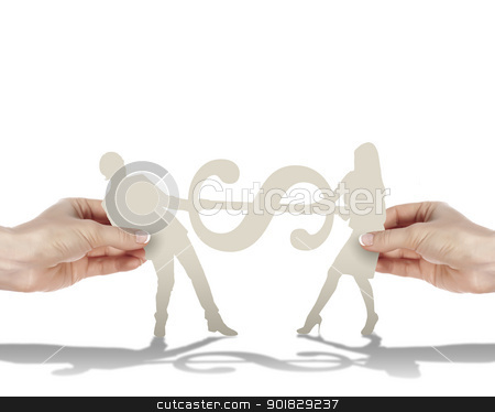human figures with a euro mark stock photo, Two human figures holding a currence mark by Sergey Nivens