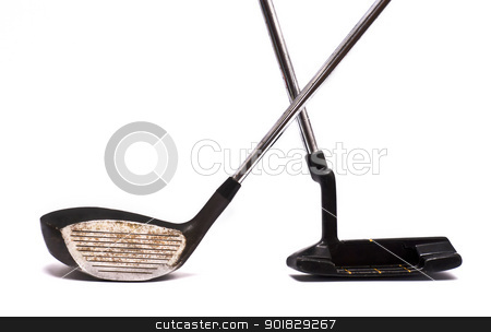 Golf clubs stock photo, Vintage golf clubs on white. by Gandolfo Cannatella