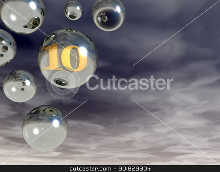 number ten stock photo, number ten in bubble - 3d illustration by J?