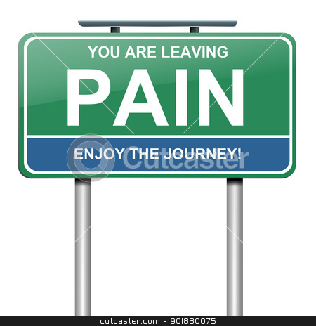 Pain concept. stock photo, Illustration depicting a green roadsign with a pain concept. White background. by Samantha Craddock