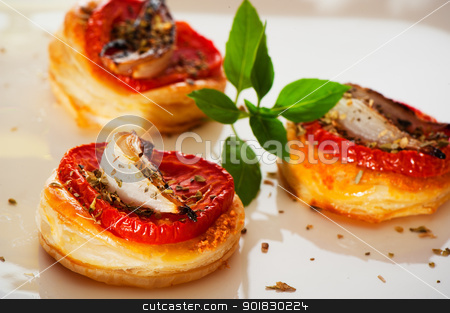 Mini pizzas stock photo, Three small mini pizzas as finger food by p.studio66