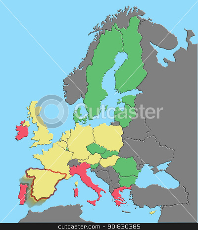 Illustration europe clipping paths stock photo, Illustration of Europe and EU colored by debt % GDP with Spain exiting euro by Steven Heap