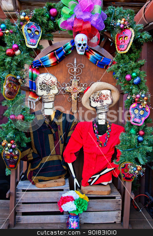 Mexican Christmas Dead Decorations Old San Diego Town California stock photo, Mexican Christmas Dead Decorations Old San Diego Town California by William Perry