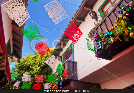Christmas Decorations Old San Diego Town California stock photo, Christmas Decorations Old San Diego Town California by William Perry
