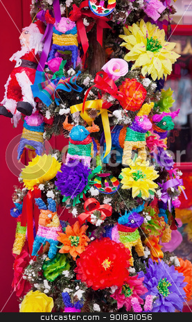 Mexican Christmas Tree Decorations Old San Diego Town California stock photo, Mexican Christmas Tree Decorations Old San Diego Town California by William Perry