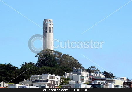Coit Tower stock photo, Coit Tower is a famous landmark in San Francisco. by Henrik Lehnerer