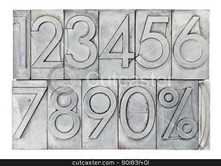 numbers in vintage metal type stock photo, numbers from zero to nine and percent symbol  in vintage metal type isolated on white by Marek Uliasz
