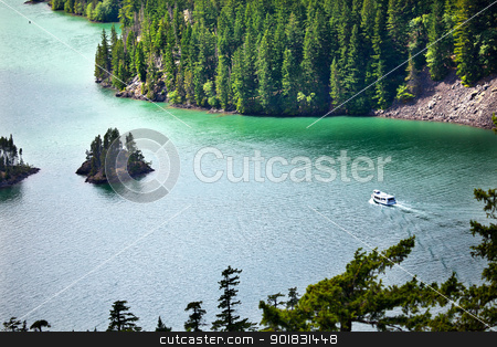 Diablo Lake Boat North Cascades National Park Washington Pacific stock photo, Diablo Lake Boat North Cascades National Park Washington Pacific Northwest by William Perry