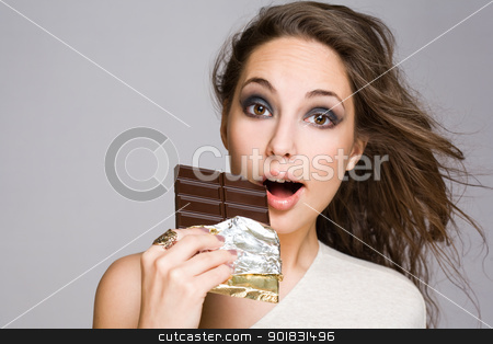 Chocolate amazement. stock photo, Chocolate amazement, portrait of a grogeous young brunette with chocolate. by exvivo