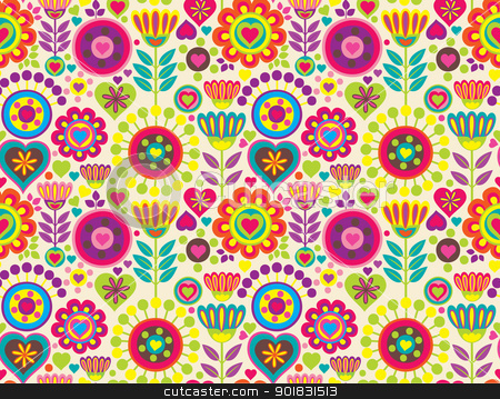 Decorative colorful funny seamless pattern stock vector clipart, Bright colorful funny vector seamless pattern with flowers by Allaya