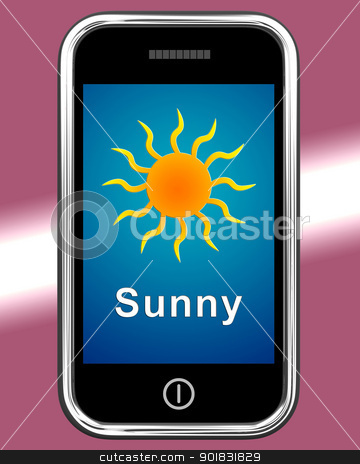 Mobile Phone Shows Sunny Weather Forecast stock photo, Mobile Phone Showing Sunny Weather Forecast by stuartmiles