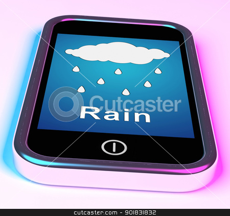 Mobile Smartphone Shows Rain Weather Forecast stock photo, Mobile Smartphone Showing Rain Weather Forecast by stuartmiles