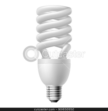 Energy saving lamp stock photo, White energy saving lamp.  Illustration on white background. by dvarg