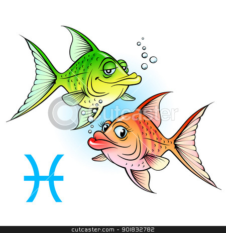 Two cartoon fish stock photo, Zodiac signs. Two cartoon fish. Illustration on white by dvarg
