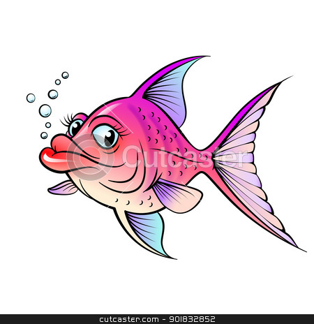 Cartoon fish stock photo, Cartoon fish. Illustration for design on white background by dvarg