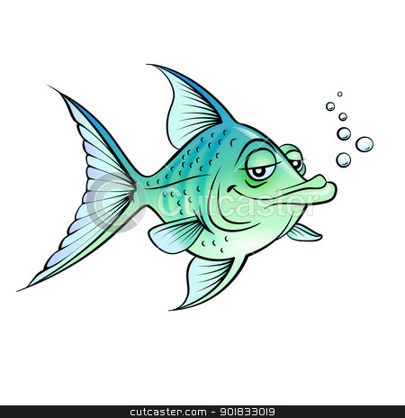 Green cartoon fish stock photo, Green cartoon fish.  Illustration for design on white background    by dvarg