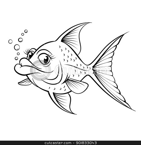 Cartoon drawing fish stock photo, Cartoon drawing fish. Illustration for design on white background  by dvarg