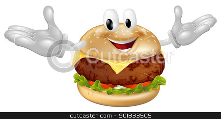 Burger Mascot Man stock vector clipart, Illustration of a cute happy beef or cheese burger mascot man  by Christos Georghiou