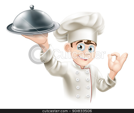 Happy chef holding platter stock vector clipart, Cartoon illustration of a happy restaurant chef holding a metal food platter by Christos Georghiou