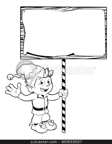 Cartoon Christmas elf with sign stock vector clipart, Illustration of a Christmas elf or pixie holding a Christmas sign by Christos Georghiou