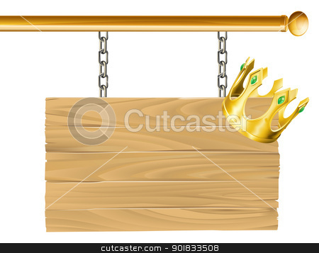 Crown sign stock vector clipart, Suspended wood sign on chains with a crown hanging on it by Christos Georghiou