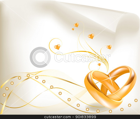 wedding rings stock vector clipart, 3D golden wedding rings  by monicaodo