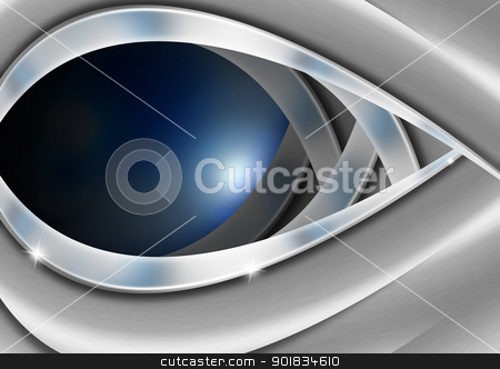 Blue and Metal Business Background stock photo, Blue and metal business background with waves and reflections  by catalby