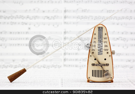Metronome and Baton stock photo, Metronome and Baton by Darren Pullman