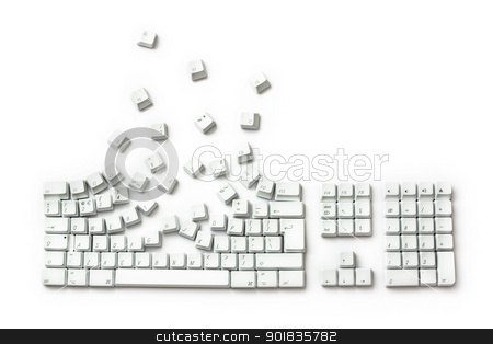 Keyboard Exploding stock photo, Keyboard Exploding - Keys Breakout isolated on white by Darren Pullman