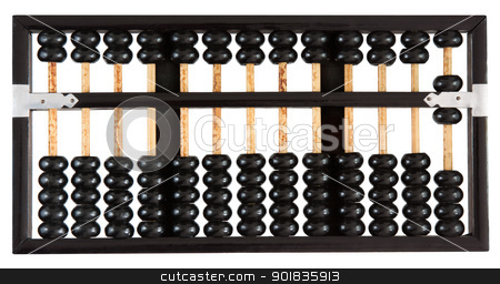 Abacus showing six stock photo, Abacus showing six isolated on white background. One of a set. by Darren Pullman