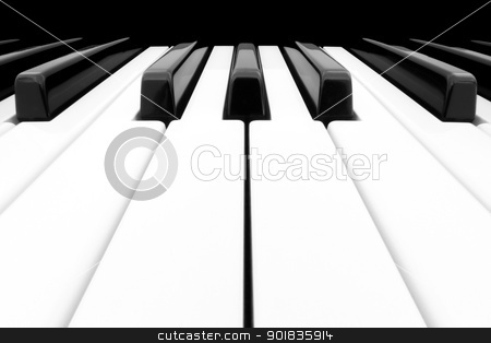 Wide angle shot of Piano Keyboard stock photo, Close-up of Piano Keyboard with plenty of white space centred on Ab by Darren Pullman