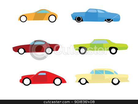 Hot rod car icons stock photo, Hot rod car icons isolated on white background. by lkeskinen