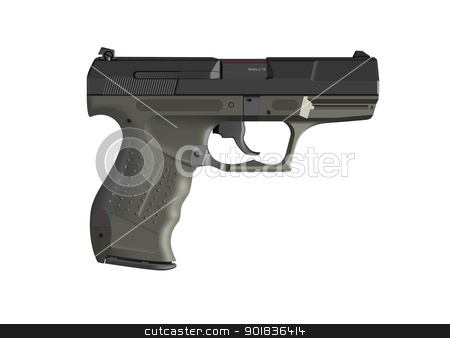 Detailed handgun stock photo, Detailed handgun pistol illustration isolated on white by lkeskinen