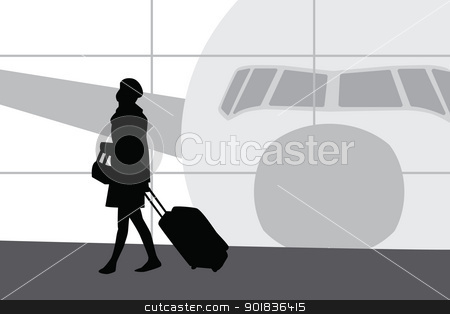 Woman in airport silhouette stock photo, Woman in airport silhouette. by lkeskinen