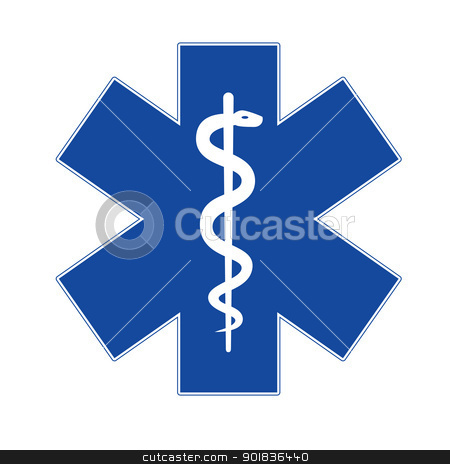 Emergency star stock photo, Emergency star blue on white background. by lkeskinen