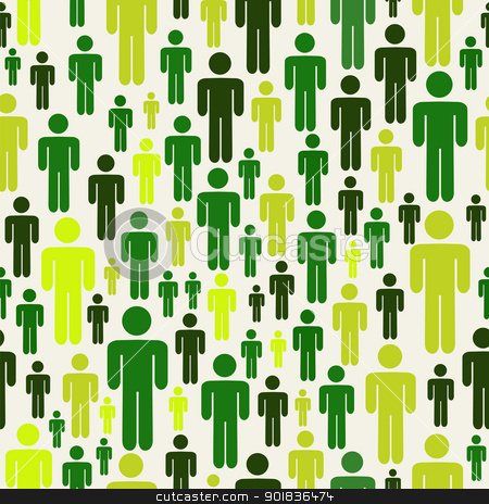 Go green social media people pattern stock vector clipart, Green social media business people connection pattern over white background. Vector available Vector file layered for easy manipulation and custom coloring. by Cienpies Design