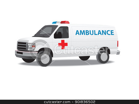 Ambulance van stock photo, Ambulance van vector illustration by lkeskinen
