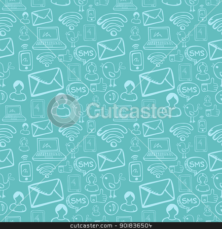 Social media cartoon icons pattern stock vector clipart, Social media cartoon icons seamless pattern over sky blue background. Vector file layered for easy manipulation and custom coloring. by Cienpies Design