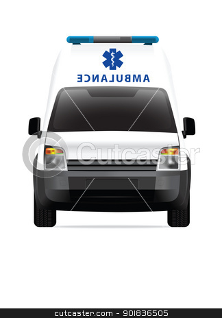 Ambulance car white stock photo, Ambulance car vector illustration by lkeskinen