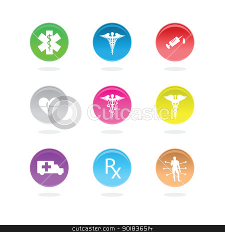 Medical icons stock photo, Medical icons in color circles on white background. by lkeskinen