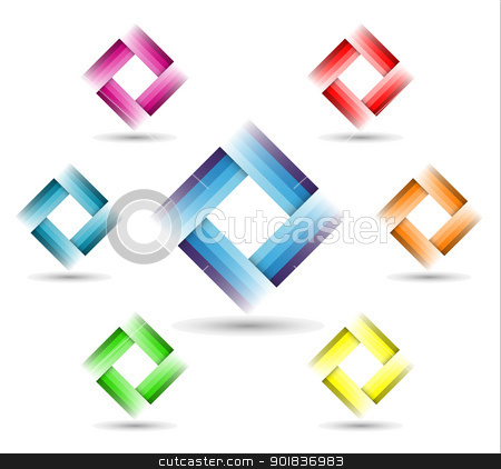 Color Rectangle Symbol stock vector clipart, Color Rectangle Symbol on white background - corporate symbol by kurkalukas